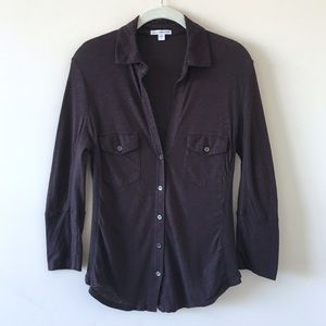 James Perse | Sheer Slub Side Panel Shirt